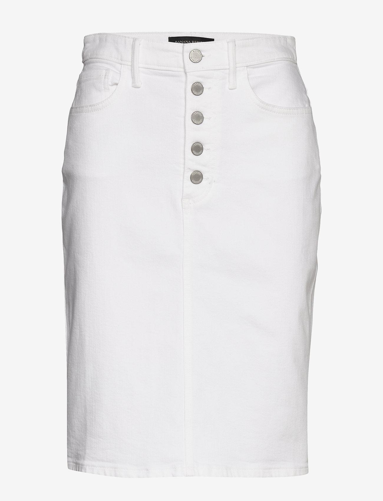 Banana Republic - Button-Fly Denim Pencil Skirt - denim skirts - white denim - 0
