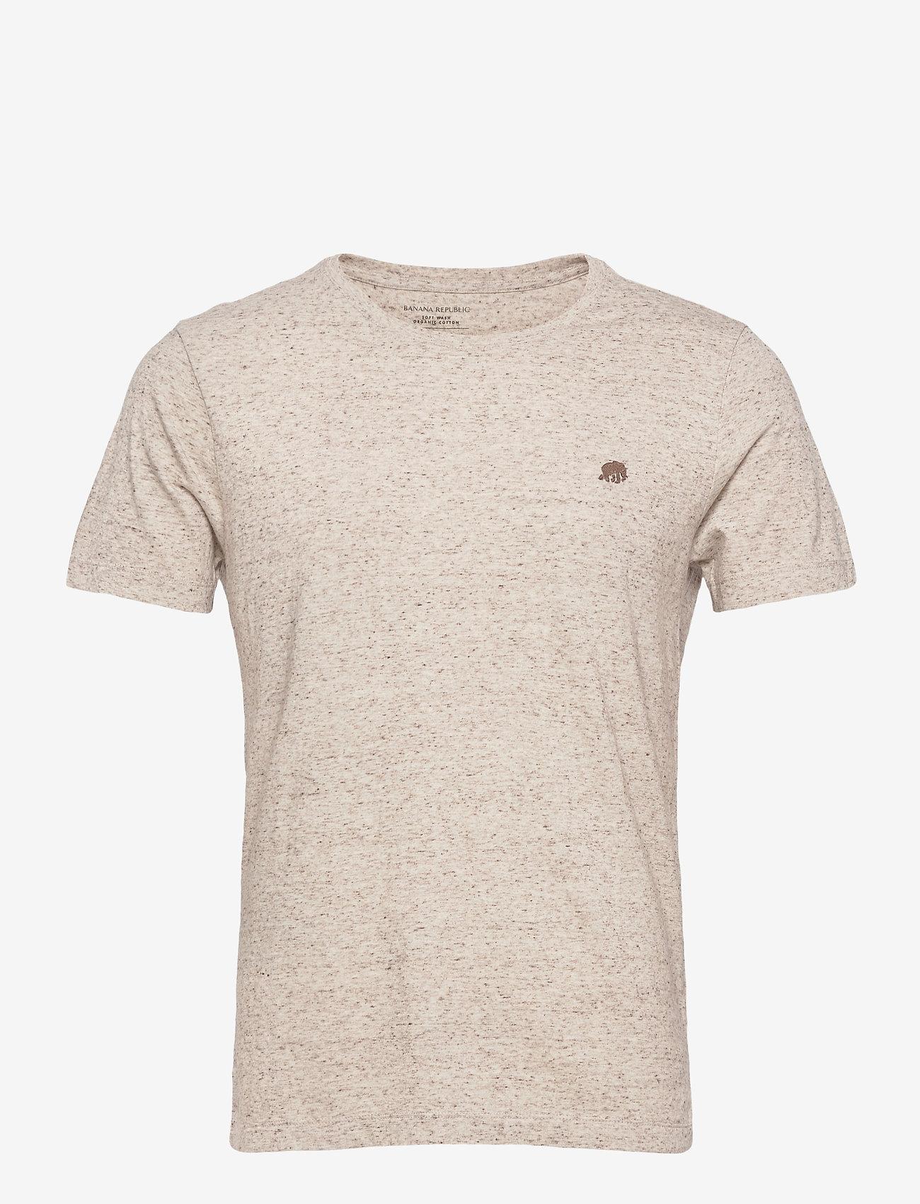 Banana Republic - I LOGO SOFTWASH ORGANIC TEE - basic t-shirts - oatmeal htr b0279 - 0