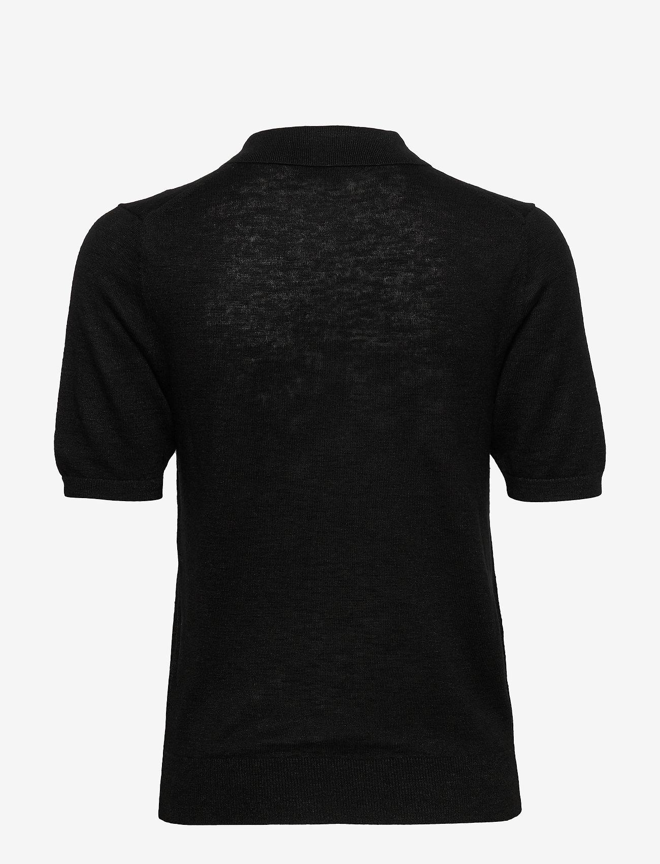 Banana Republic - Linen-Blend Sweater Polo - strikkede toppe - black - 1