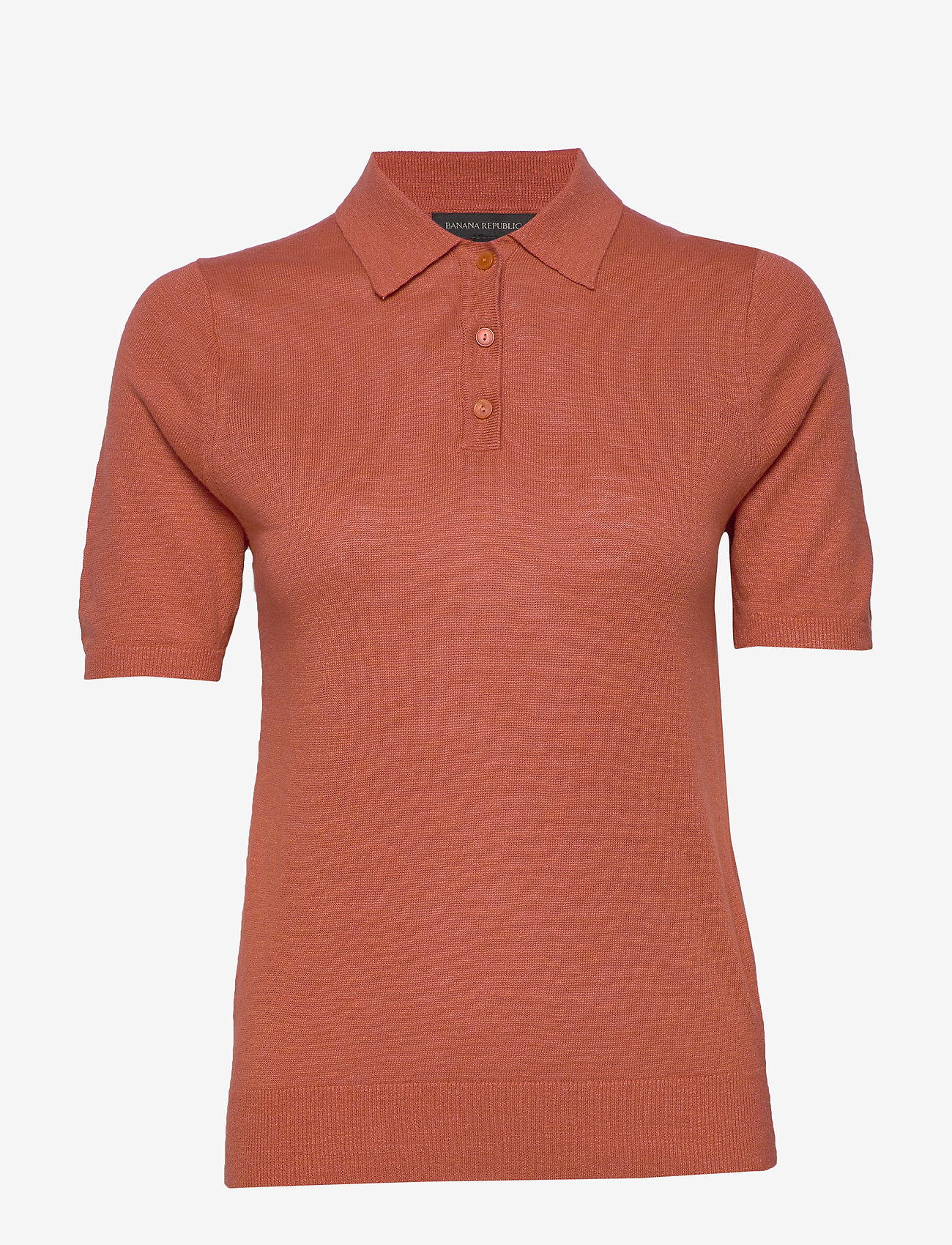 Banana Republic - Linen-Blend Sweater Polo - knitted tops - copper clay - 0