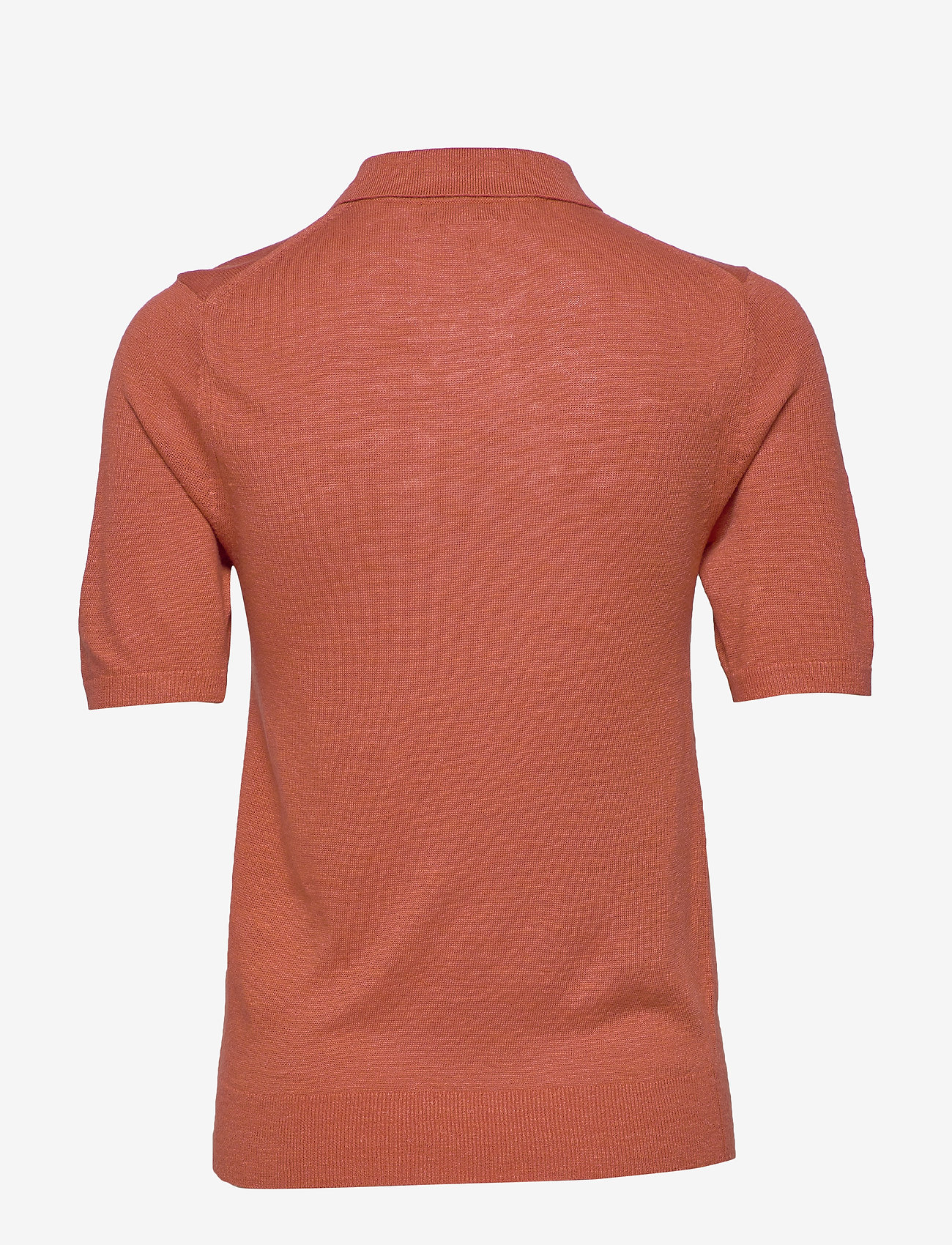 Banana Republic - Linen-Blend Sweater Polo - knitted tops - copper clay - 1