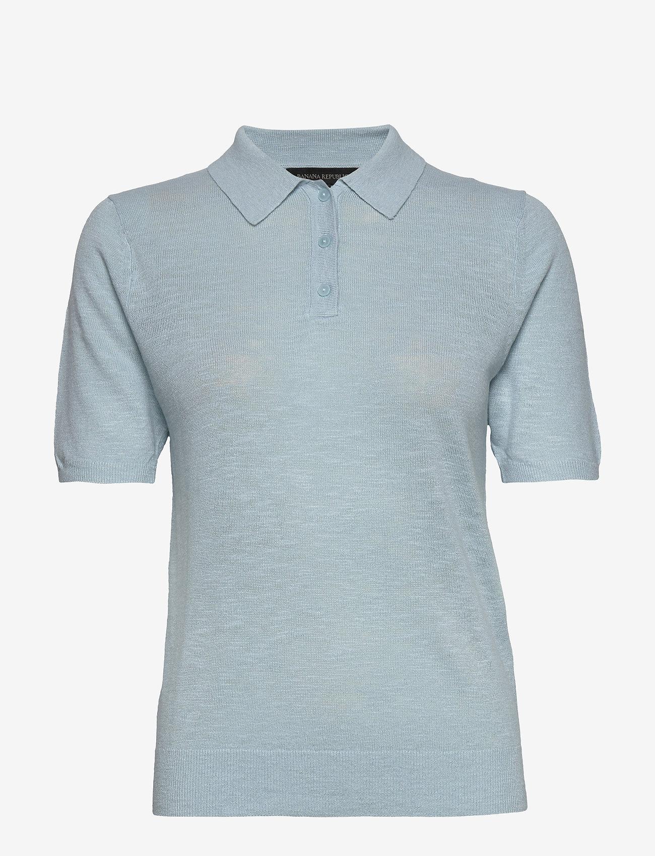 Banana Republic - Linen-Blend Sweater Polo - knitted tops - light blue - 0