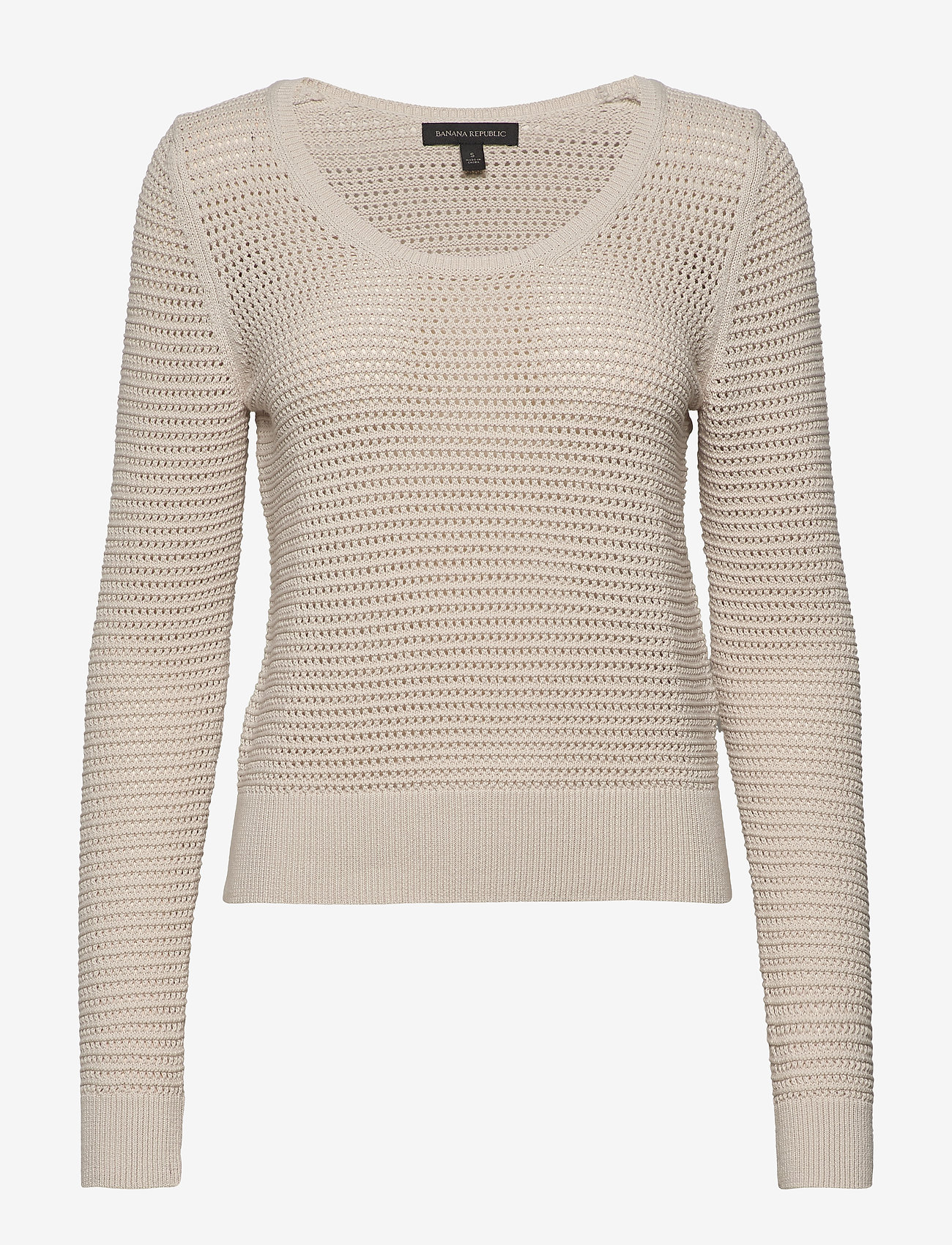 Banana Republic - Pointelle Cropped Sweater - swetry - natural