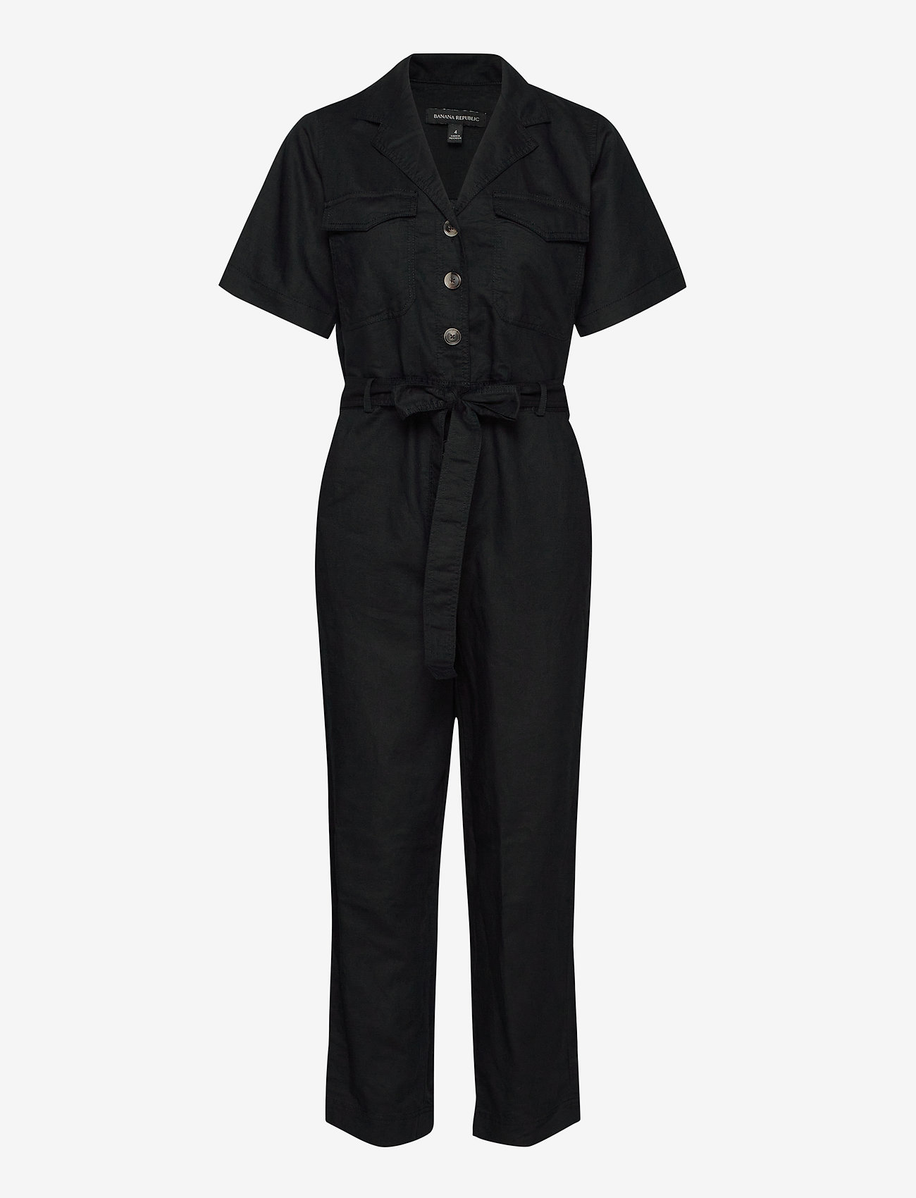 Banana Republic - Linen-Cotton Utility Jumpsuit - combinaisons - black - 0