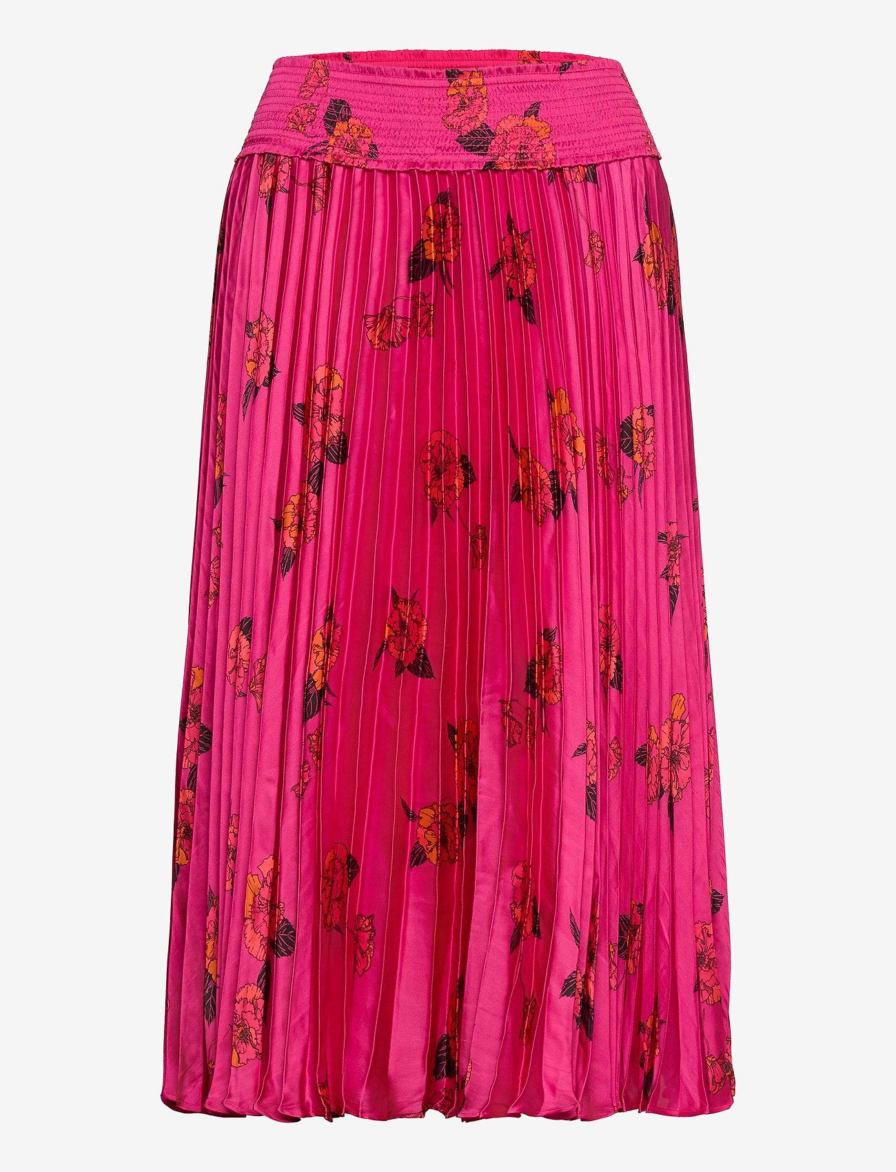 Banana Republic - Floral Satin Pleated Midi Skirt - midi skirts - midnight floaty floral - 0