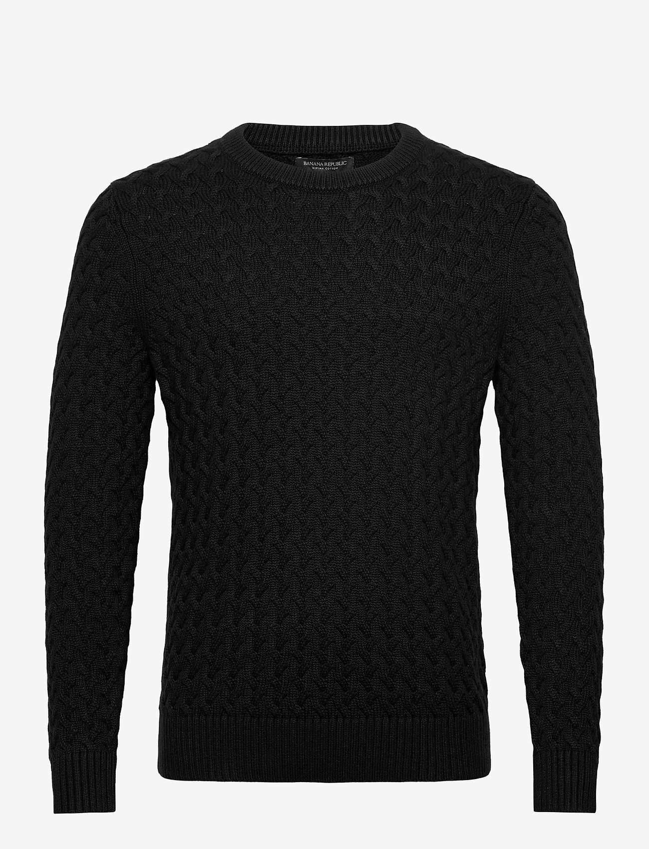 Banana Republic - SUPIMA® Cable-Knit Sweater - basic knitwear - black - 0