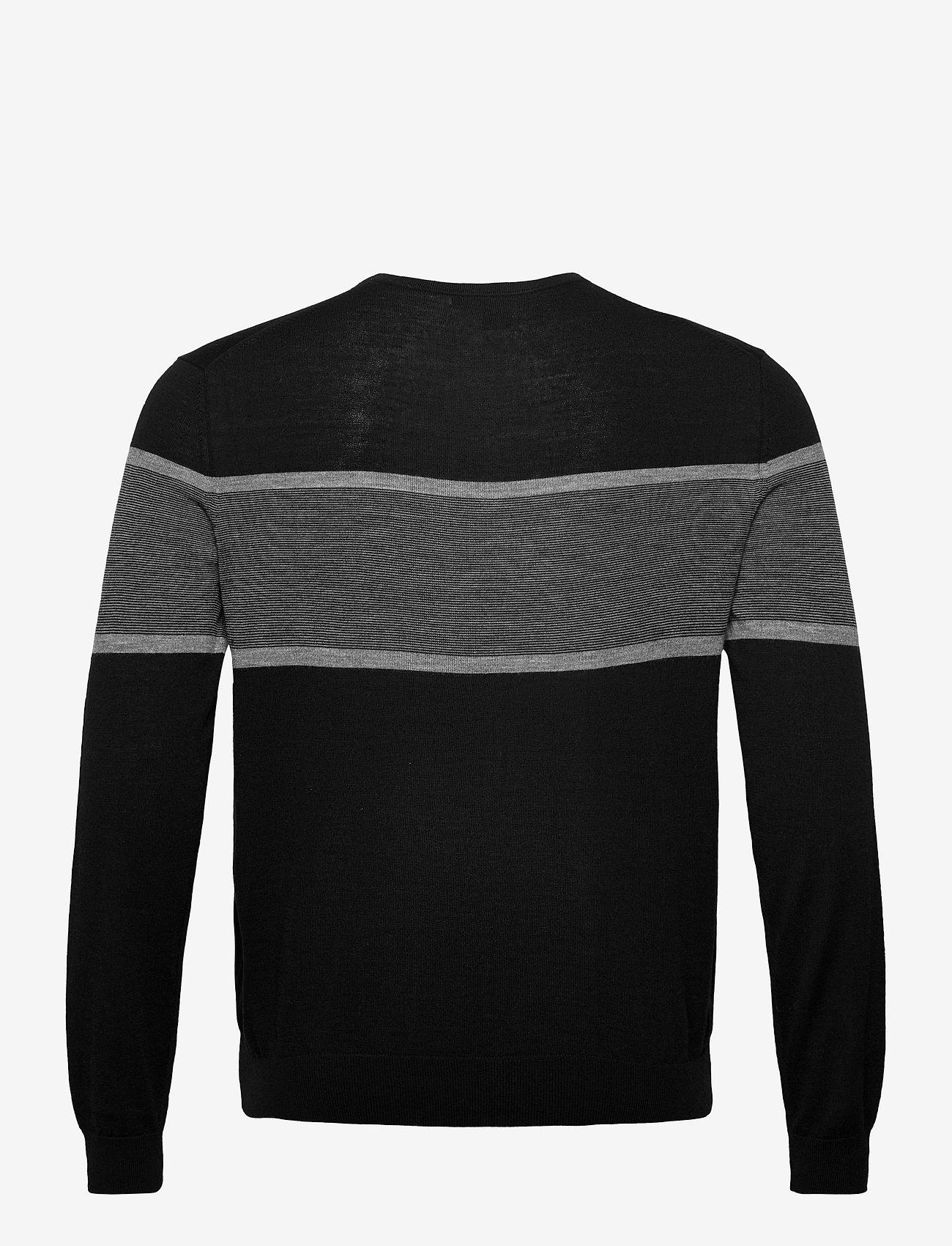 Banana Republic - Merino Stripe Sweater in Responsible Wool - knitted round necks - black - 1