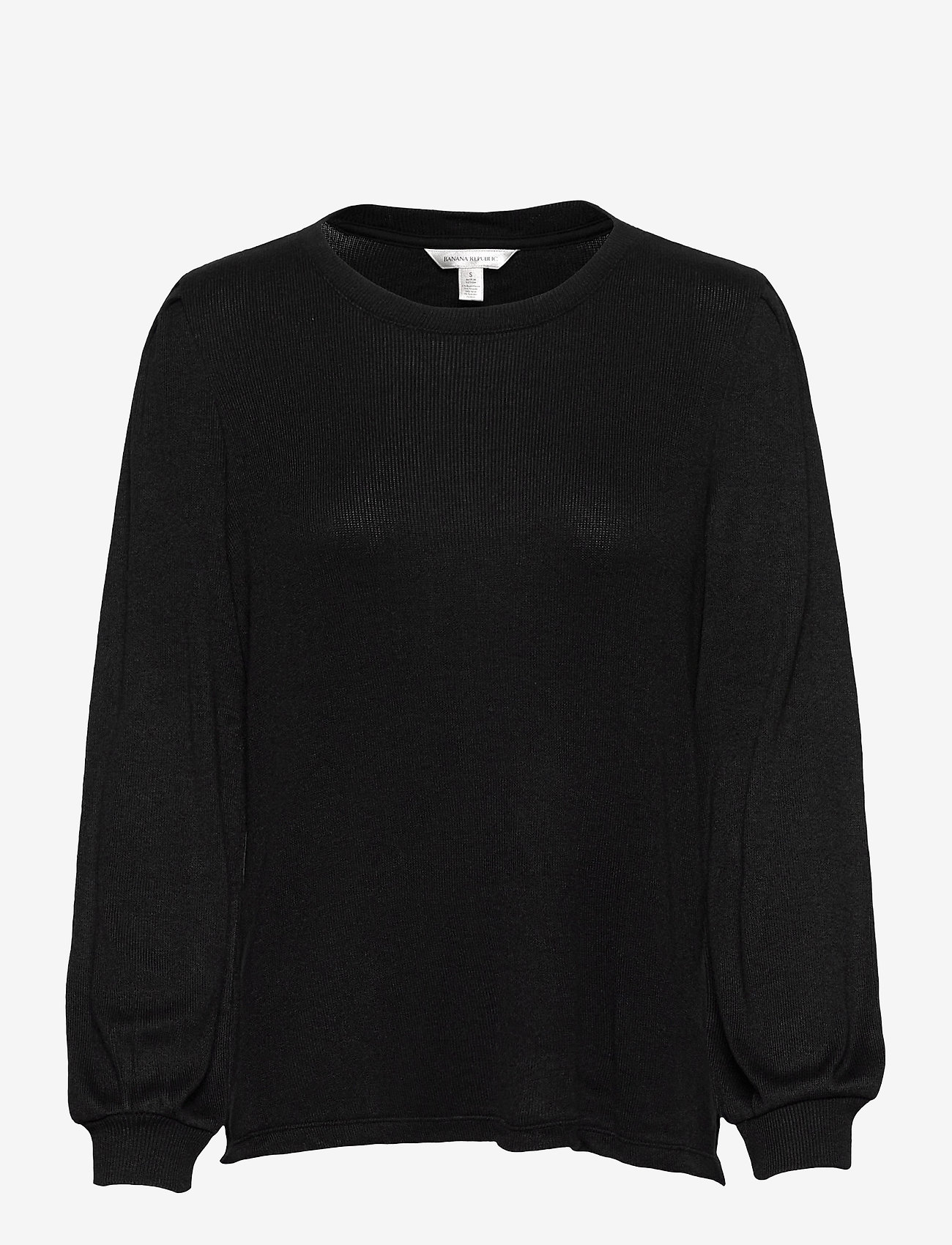 Banana Republic - Cozy Ribbed Puff Sleeve Top - long-sleeved tops - black - 0