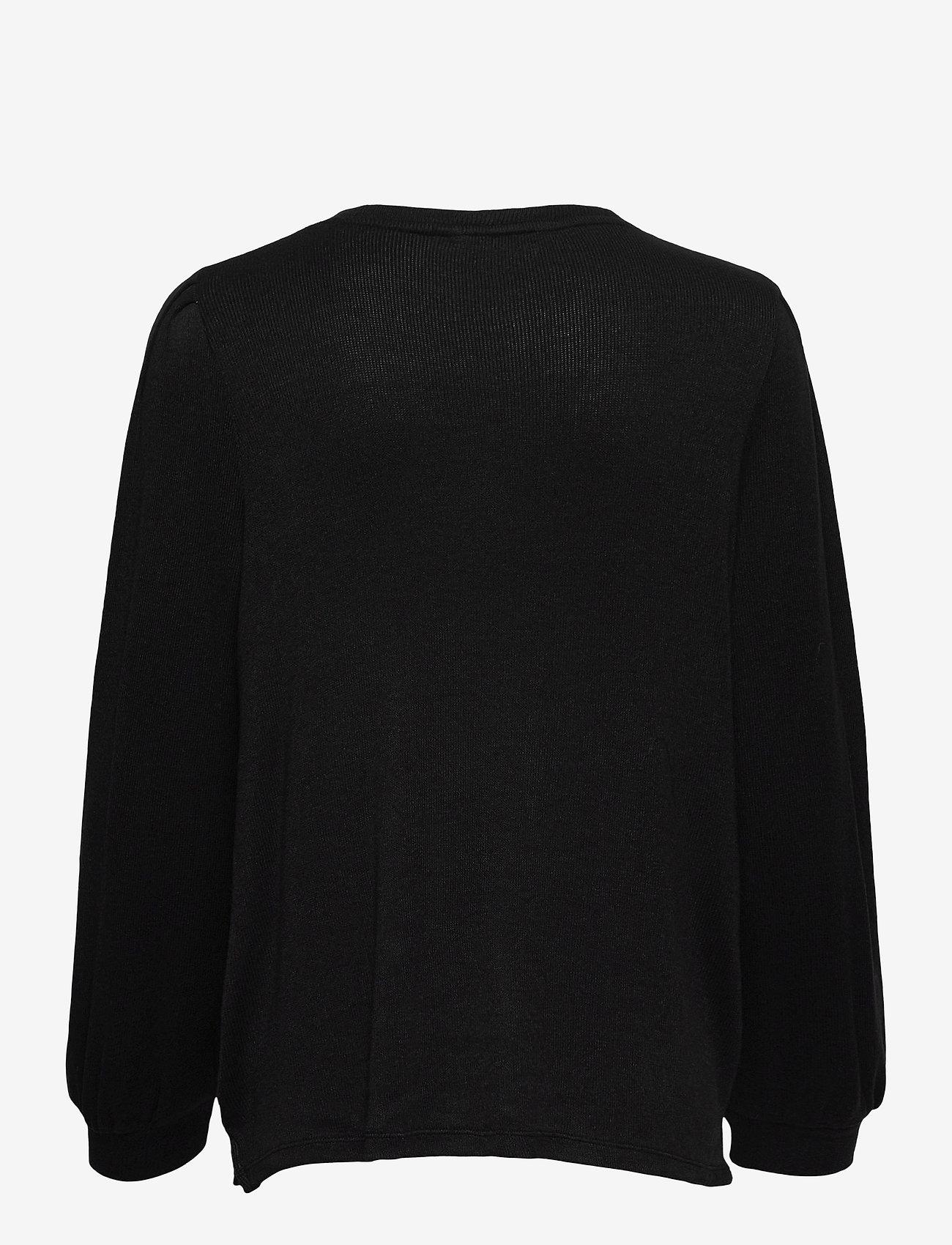 Banana Republic - Cozy Ribbed Puff Sleeve Top - long-sleeved tops - black - 1