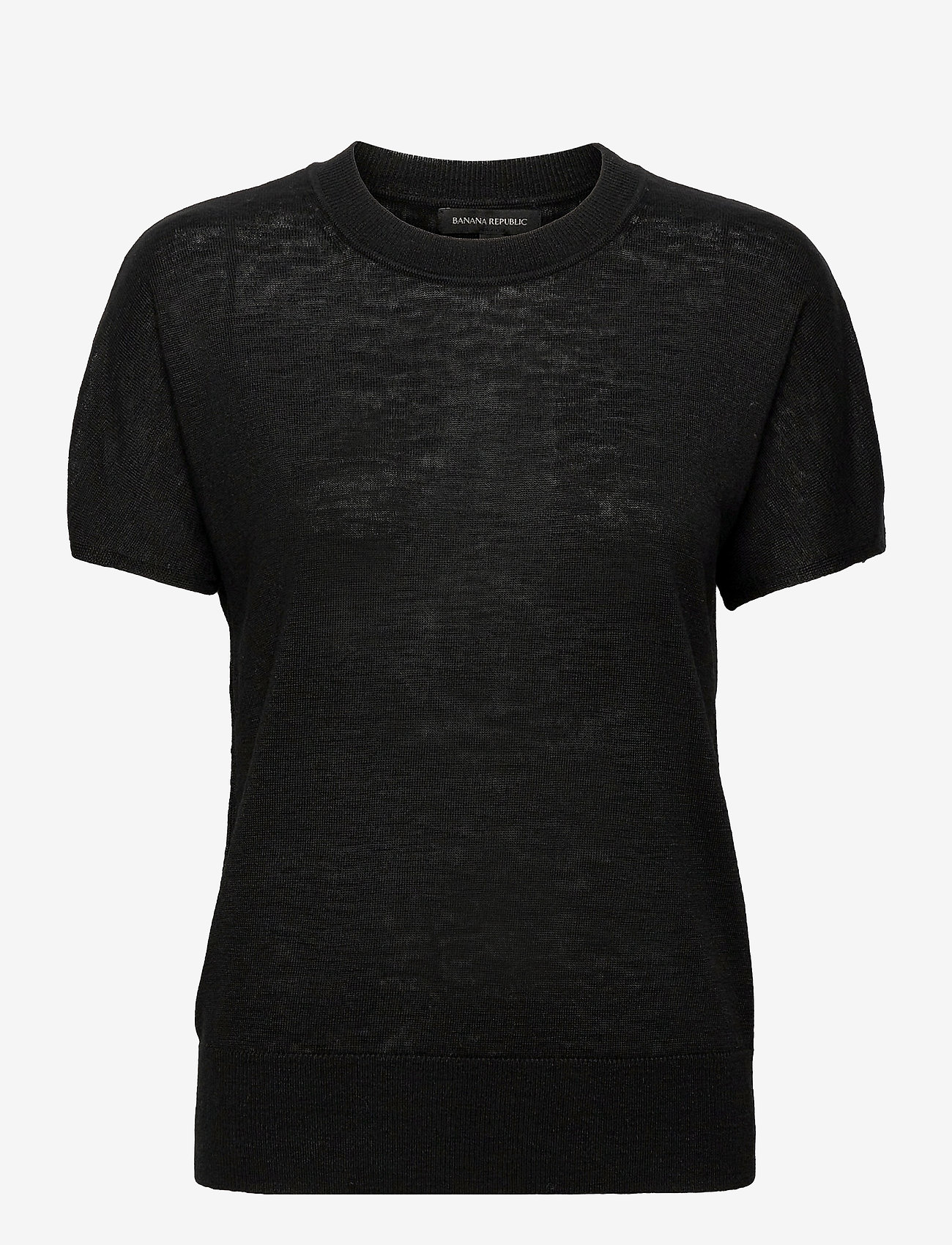 Banana Republic - Linen-Blend Short-Sleeve Sweater - strikkede toppe - black 800 - 0