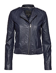 VEGAN LEATHER JACKET - NAVY