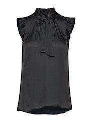 SL RUFFLE TIE NECK TOP SOLIDS - BLACK