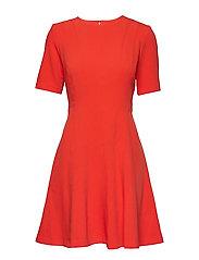 SS LINEAR SEAMED FNF DRESS - GEO RED