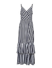 Stripe Tiered Maxi Dress - BLACK WHITE NOVELTY