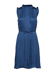 Soft Satin Ruffled Dress - INDIGO FOG GLOBAL