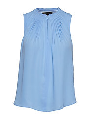 Pleated Sleeveless Top - LIGHT BLUE