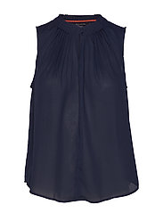 Pleated Sleeveless Top - PREPPY NAVY