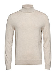 Italian Merino Turtleneck Sweater - LIGHT OATMEAL HEATHER