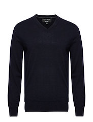 Italian Merino V-Neck Sweater - PREPPY NAVY