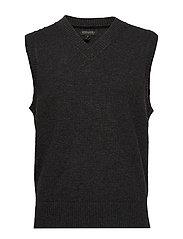 V-Neck Sweater Vest - CHARCOAL HEATHER