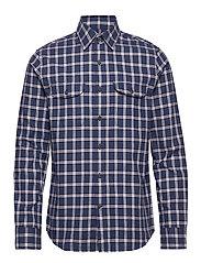 Untucked Slim-Fit Flannel Shirt - PURPLE/BLUE2