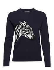 Italian Wool-Blend Zebra Sweater - NAVY WITH INTARSIA