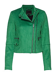 Vegan Suede Biker Jacket - BRIGHT GREEN