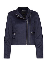 Vegan Suede Biker Jacket - NAVY