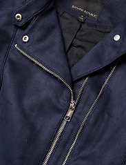 Banana Republic - Vegan Suede Biker Jacket - leather jackets - navy - 4
