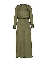 I LS TRENCH MAXI DRESS - JUNGLE OLIVE