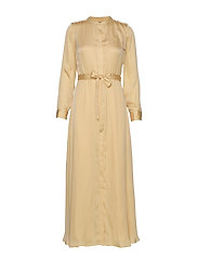 I LS TRENCH MAXI DRESS - WHEAT