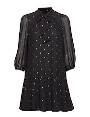 Metallic Dot Tie-Neck Dress - BLACK/GOLD