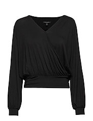 Soft Stretch Modal Surplice Top - BLACK K-100