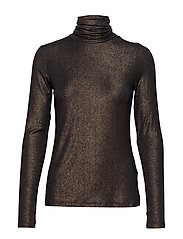 Metallic Soft Stretch Turtleneck T-Shirt - BLACK K-100