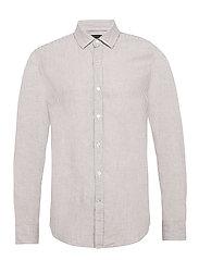 Untucked Slim-Fit Linen-Cotton Shirt - BROWN MINI STRIPE