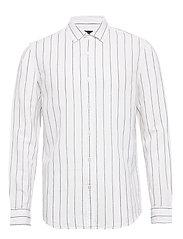 Untucked Slim-Fit Linen-Cotton Shirt - WIDE STRIPE
