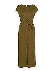 Sandwash Tie-Front Cropped Jumpsuit - CINDERED OLIVE