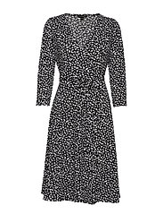 Print Wrinkle-Resistant Wrap Dress - SMALL BR FLO LEAF COOL