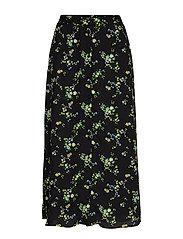 Floral Midi Skirt - BLACK DITSY FLORAL