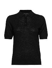 Linen-Blend Sweater Polo - BLACK