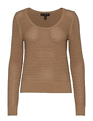 Pointelle Cropped Sweater - AFTERNOON LATTE
