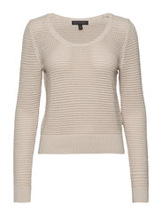 Pointelle Cropped Sweater - NATURAL