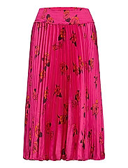 Floral Satin Pleated Midi Skirt - MIDNIGHT FLOATY FLORAL