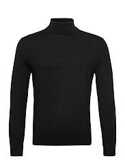 Italian Merino Turtleneck Sweater - BLACK K-100