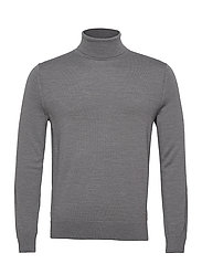 Italian Merino Turtleneck Sweater - HARBOR GREY