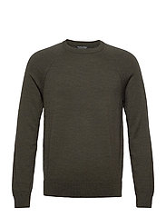 Italian Merino Crew-Neck Sweater - DARK GREEN HEATHER