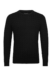 SUPIMA® Cable-Knit Sweater - BLACK