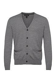 Merino Cardigan Sweater in Responsible Wool - GREY HEATHER