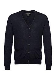 Merino Cardigan Sweater in Responsible Wool - NAVY HEATHER