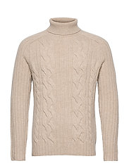 Italian Wool-Blend Turtleneck Sweater - VINTAGE TAN